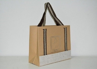 Waterproof Customized Kraft Paper Bags Rural Style For Jewelry / Cosmetics