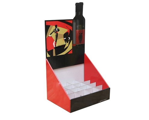 Wine Cardboard Counter Display Boxes Foil Stamping Finishing C2S Material