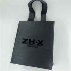 Black Satin Paper Fabric Bags Silk Ribbon Handle Foil Stamping Surface